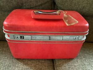 Vintage Samsonite Silhouette Pink Marbled Textured Train Makeup Case Tray