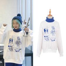 Harajuku Women Long Sleeve Turtleneck Sweatshirt Character Print Top Autumn