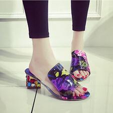 Fashion Women Lady Crystal Rhinestone Block Heel Slippers Sandals Party Shoes TM