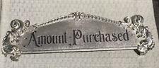 Antique Brass National cash register TOP SIGN ORIGINAL NCR Amount Purchased