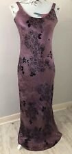 East Purple Floral Long Silk Blend Occasion Party Lined Dress Size 14