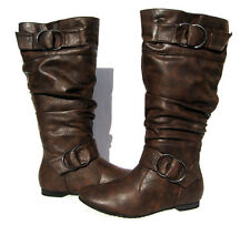 Women's Flat Winter BOOTS Slouch Fashion Browns Snow shoes Ladies Size 6.5