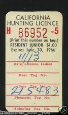 1965-66 California Hunting License Validation Stamp CAHV-4J  Resident Junior