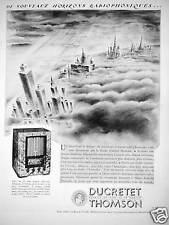 PUBLICITÉ 1933 DUCRETET THOMSON DE NOUVEAUX HORIZONS RADIOPHONIQUES