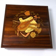 VINTAGE INLAID WOOD SORRENTO ITALY MUSIC JEWELRY BOX TORNA A SURRIENTO MANDOLIN
