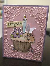 "Stampin Up ""Birthday Wishes"" Pink Cupcake Embossed Glitter Handmade Card"