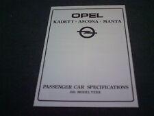 April 1981 OPEL KADETT / ASCONA / MANTA SPECIFICATIONS - UK BROCHURE