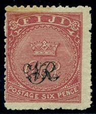 "FIJI #35 6p rose Crown and ""CR"" overprint, og, VLH, Fine, Scott $62.50"