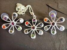 Chakra fleur de cristal boucles d'oreilles & collier set gemme plaqué argent reiki