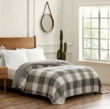 Pendleton Sherpa Grey Plaid Farmhouse Style QUEEN Plush Blanket