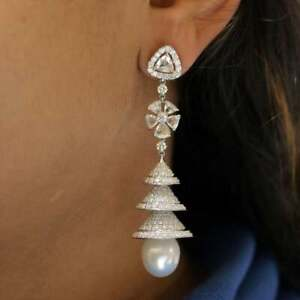 Genuine White Rose Cut Cubic Zirconia With Beautiful South Sea Pearl Earrings