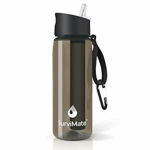 Survimate Filtered Water Bottle BPA Free with 4-Stage Intergrated Filter Stra...