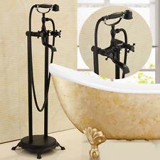Oil Rubbed Broze Bathtub Faucet Dual Handles W/ Hand Shower Floor Mounted Mixer