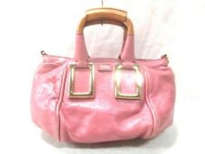 Auth Chloe Ethel Pink LightBrown Leather Handbag