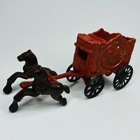 VINTAGE CAST IRON HORSE DRAWN LION CIRCUS WAGON W/2 HORSES 1930s (H)