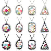 Geometric Living Memory Floating Locket Pendant Pearl Cage Glass Locket Necklace