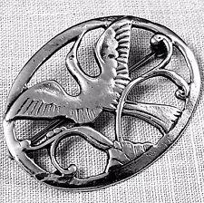 Graceful openwork oval bird brooch Scandinavian influence sterling silver