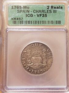 1765 ICG VF 35 Spanish Silver 2 Reales Antique 1700s Colonial coin!