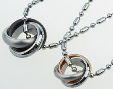 Stainless Steel Titanium Couple Rings Engraved Pendant Promise Necklace Gift P16