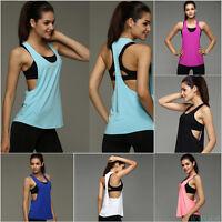 Casual Women Tank Tops Blouse Loose Sleeveless Shirt Gym Yoga Vest Training Run