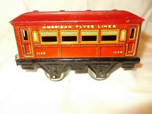 RARE RED AMERICAN FLYER LINES 1120 TIN CAR.