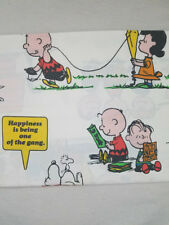 """VINTAGE Muslin 1971 Peanuts + Snoopy & Gang Twin Flat Bed Sheet - """"Happiness is"""""""