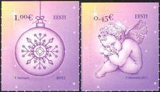 Estonia 2011 Christmas/Greetings/Cherub/Tree Bauble 2v s/a set (ee1070)