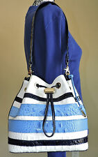 Brahmin Maxine Regatta Multi Blue Trim Embossed Leather Drawstring Bucket NWT