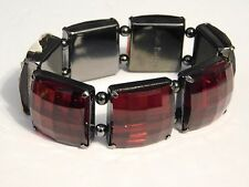 Estate  JOAN RIVERS Red Faceted Hematite Stretch Jewelry Bracelet
