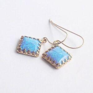 14k Yellow Gold Filled Blue OPAL Dangle Earrings Handmade WOMEN'S
