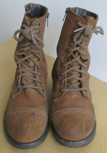 Steve Madden Tropa 2-0 Cognac Brown Suede Leather Military Combat Boots Sz 9.5M