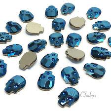 4 pcs Swarovski 2856 Skull Flatback No-Hotfix 10mm x 7.5mm CRYSTAL METALLIC BLUE