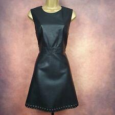 Ladies BNWT FOREVER 21 Black Faux Leather Sleeveless Skater Mini Dress Size M