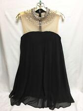 NEW Mon Cheri 116854 BLACK Chiffon Jeweled Neckline DRESS Size 8 Social Occasion
