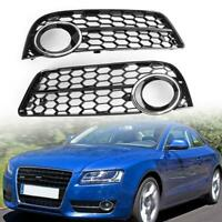 1 Pair Front Fog Light Honeycomb Grilles for Audi A5 2008-2011 Chrome Ring