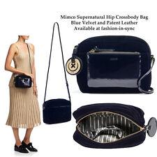 MIMCO Supernatural Box Hip Crossbody Bag Ink Blue Velvet and Leather w/ Charm