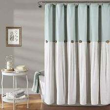 Lush Decor Button Blue and White Shower Curtain Linen 72X72