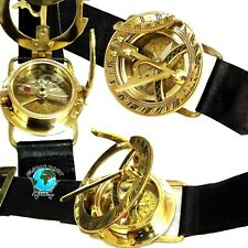 Antique Steampunk Wrist Brass Compass & Sundial-Watch Type Sundial Nautical Gift
