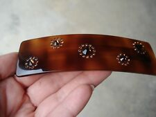 L. Erickson France Luxe Brown Barrette Hair Clip with Crystals