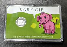 2020 Somalia 1/10 oz Silver Elephant Baby Girl Card in Plastic Case Newborn Gift