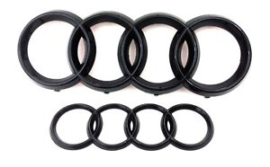 AUDI A1 A3 S3 A4 S4 A5 A6 Black Emblem Badge Logo Front Grill + Rear Boot SET