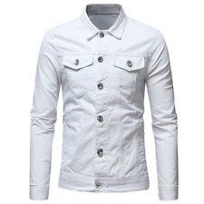 Men's Casual Denim Jean Sweats Top Jacket Shirt S M L XL Red White Green Blue