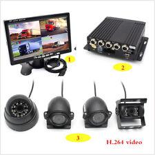 "4CH Car DVR Video Recorder Box+ 7""Car Monitor CCD Front Rear Camera For Van Bus"