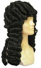 OLD ENGLISH JUDGE BARRISTER COLONIAL BLACK LACEY WIG COSTUME ACCESSORY LW260BK