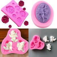 3D Angel Baby Flower Silicone Fondant Cake Decor Sugarcraft Baking Mould Tools