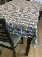 Vintage Purple & Green Heavy Cotton Floral Fall Leaves Tablecloth 48 X 64