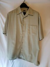 George Mens Shirt L 42-44 Green Sueded Button Front Short Sleeve