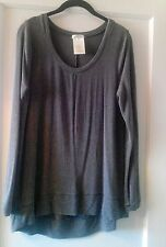 Matty M Hi-Low Gray Modal Blend Long Sleeve Pullover Tunic Top Size S