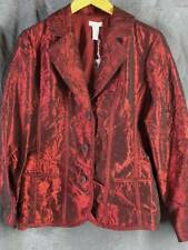 Chicos 1 Medium Burgundy NEW Crinkle Fabric Jacket NWT Chico's