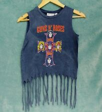 Guns N' Roses T-shirt Size S Sleeveless Acid Wash Fringe Cut Hem Rock Chic